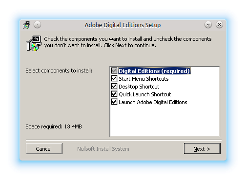Adobe Digital Editions Setup window