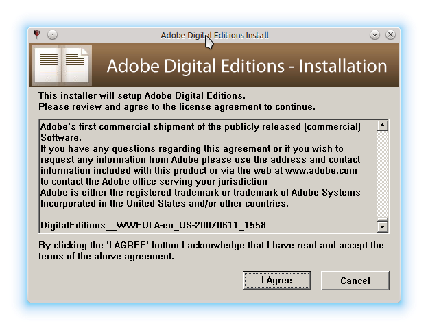 ADE license agreement prompt