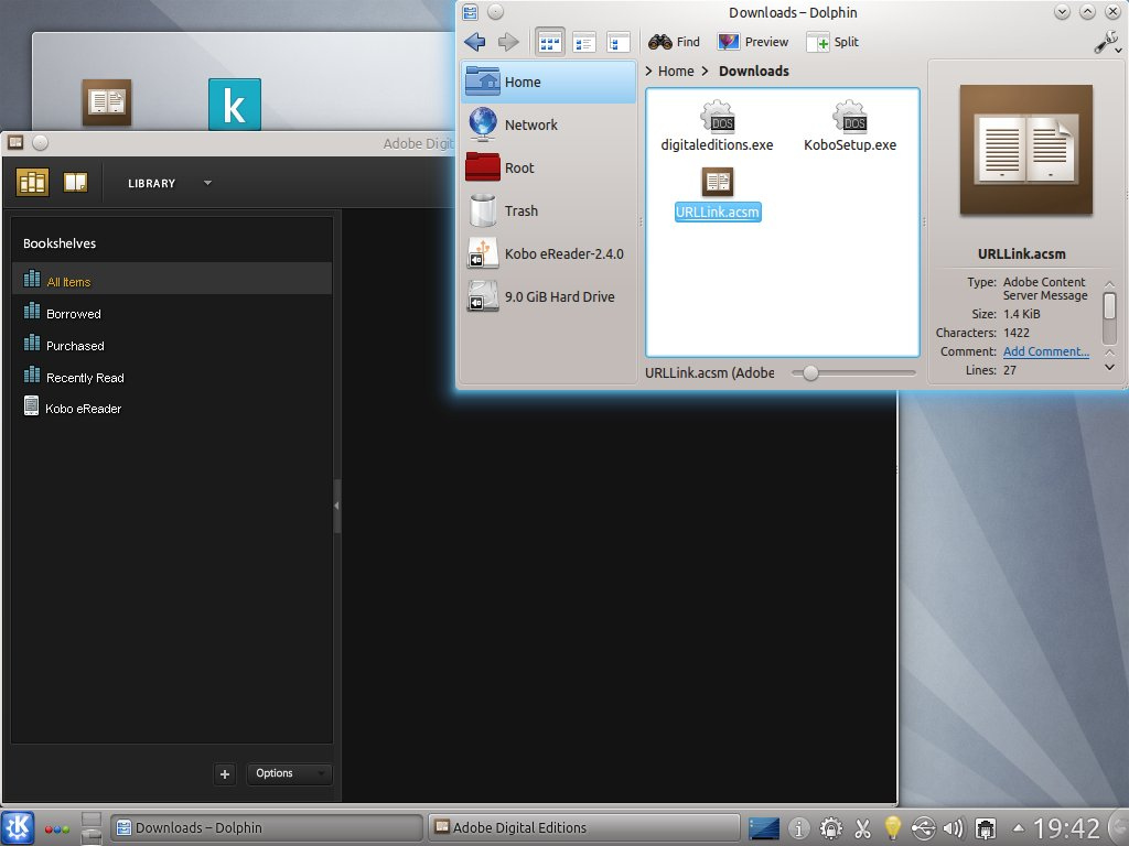 KDE desktop with ADE and a file manager containing an ebook