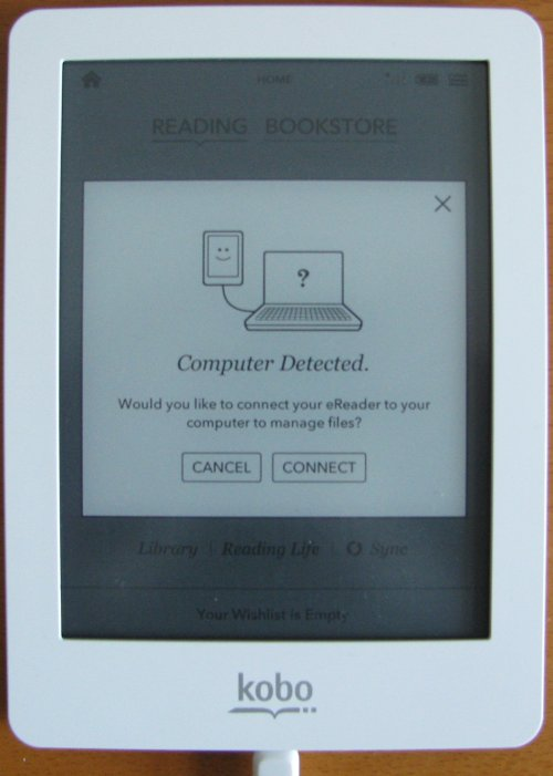 Kobo eReader computer detected connect prompt screen