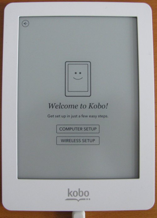 Kobo eReader computer or wireless setup screen