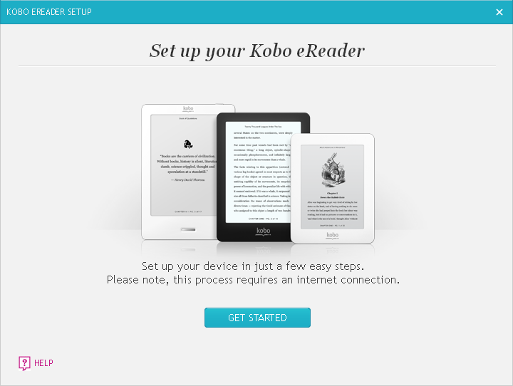 Kobo Desktop get started window