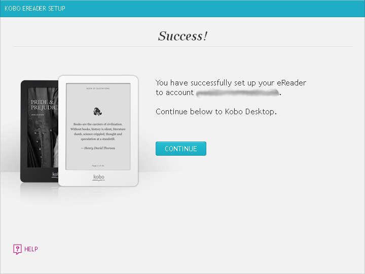 Kobo Desktop eReader successfully set up window