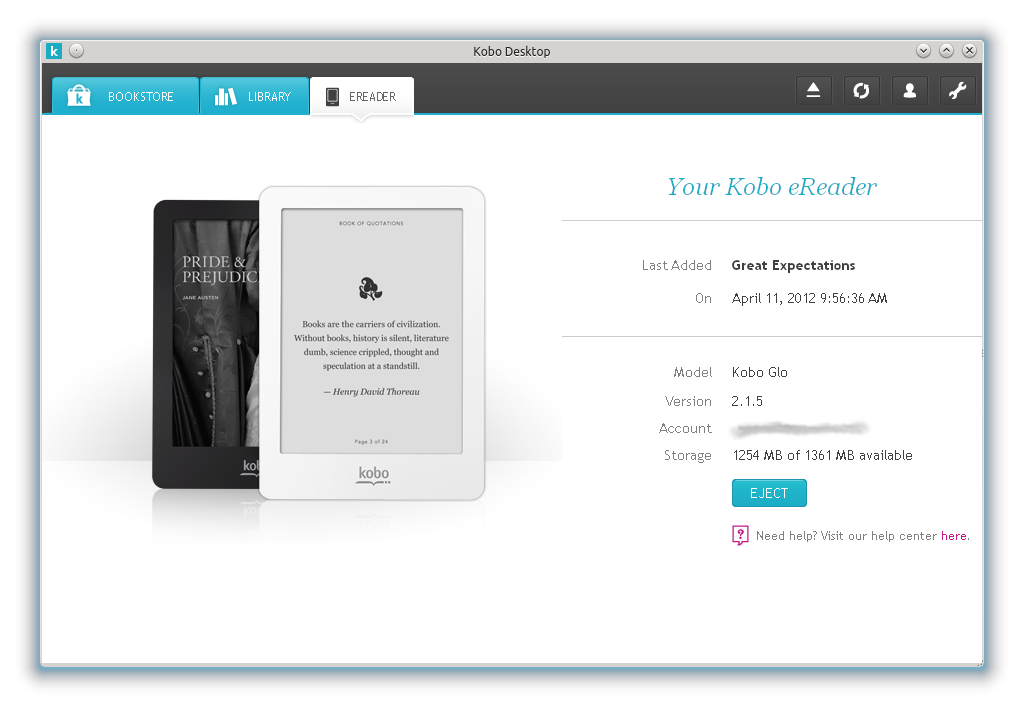 Kobo Desktop eReader tab window