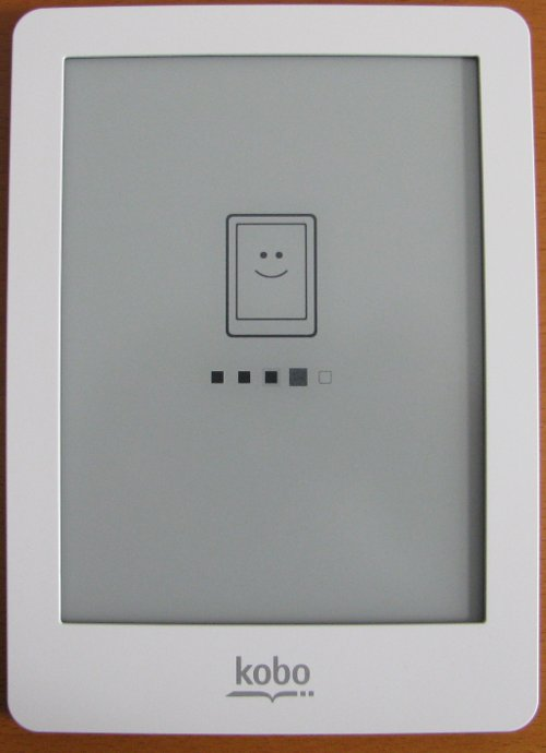Kobo eReader powering up screen