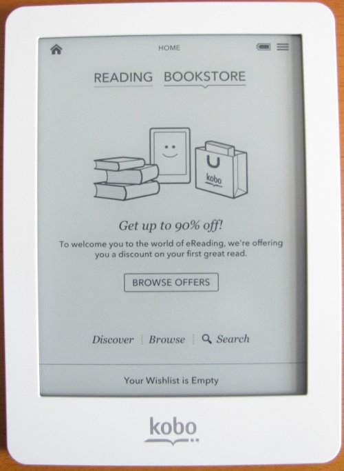 Kobo eReader browse offers scrren