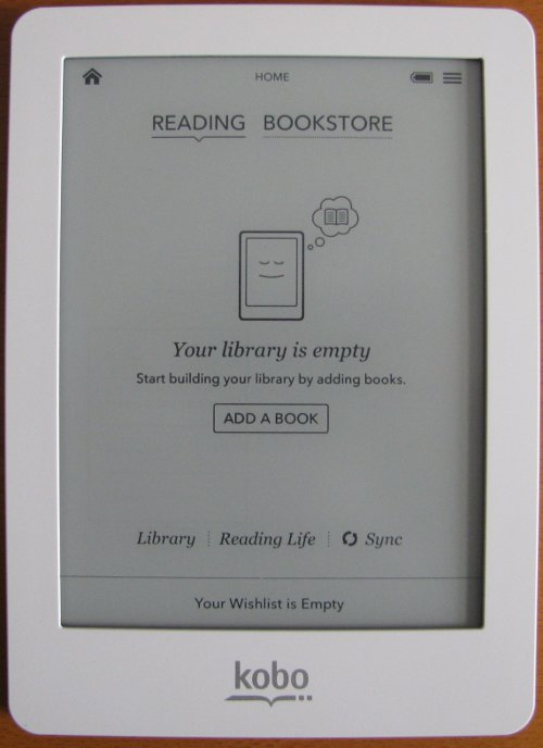 Kobo eReader main screen