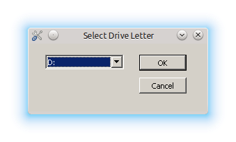 Drive letter D: shown in Select Drive Letter window
