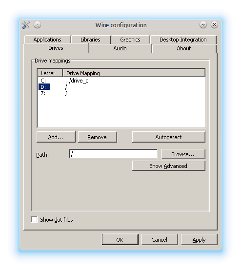 Drive D: settings shown in Wine configuration window