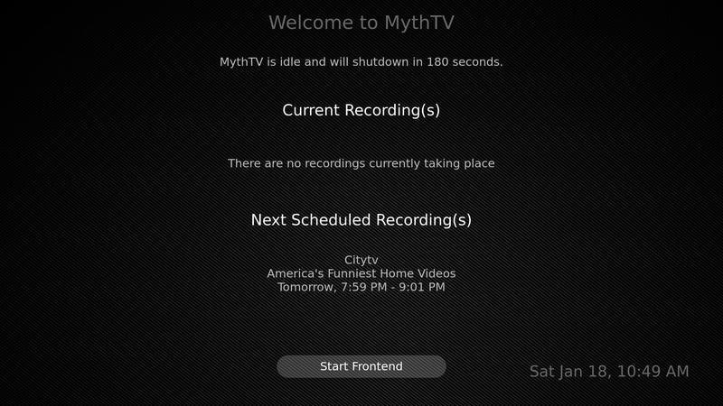 Mythwelcome status screen with no recordings in progress